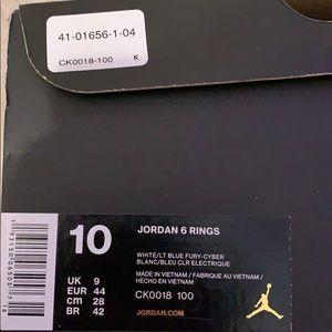 Jordan 6 rings size 9 in men